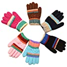 6 Pairs Boys Girls Winter Warm Knit Gloves Mittens for Toddler Kids 4-7 Years