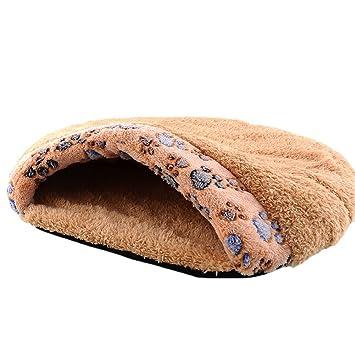 Pecute Cama de Mascotas Saco de Dormir Cálido y Suave para Perro y Gato Color de Marrón: Amazon.es: Productos para mascotas