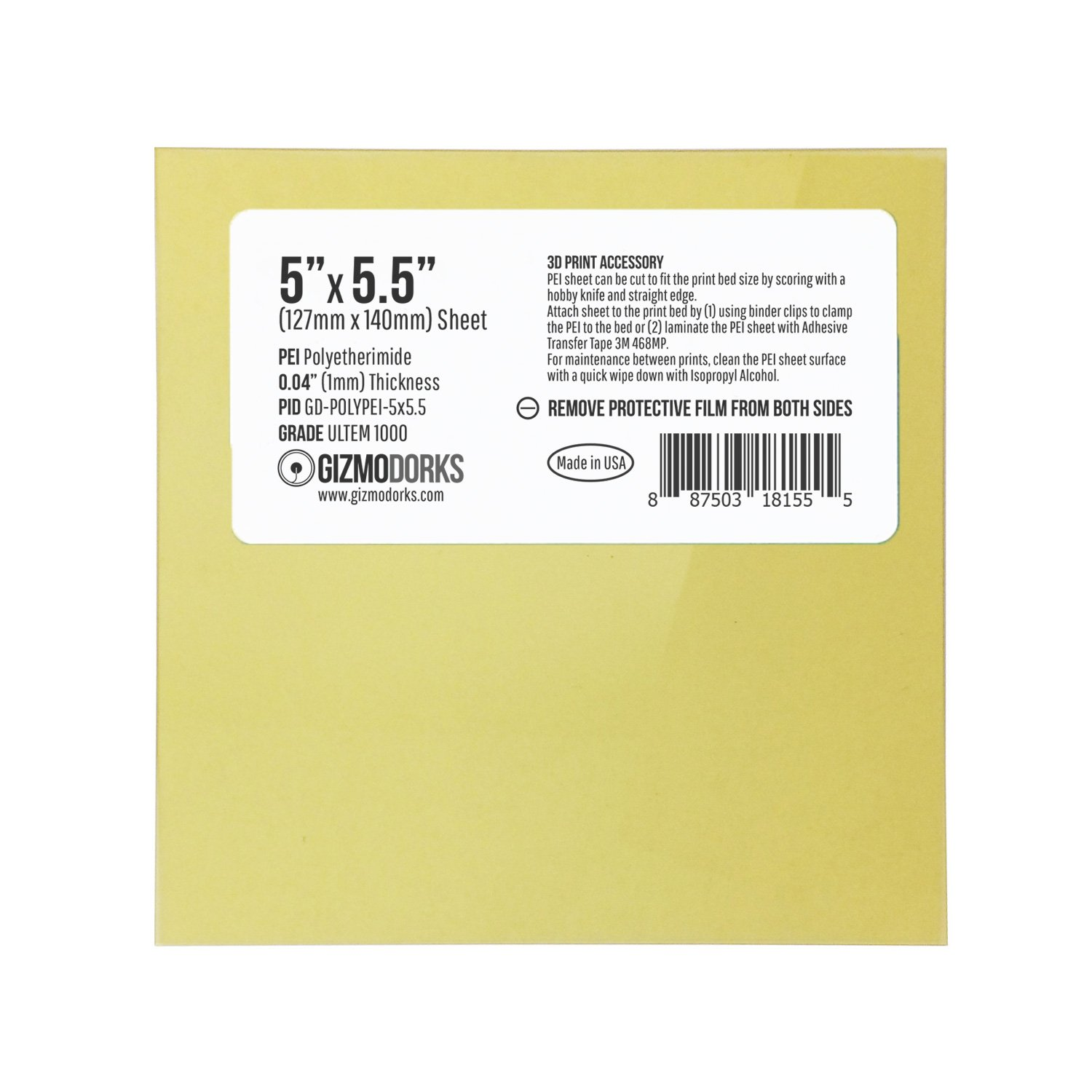 Made in The USA 1mm Thick Build Surface with 3M 468MP Adhesive for Monoprice MP Select Mini 3D Printers 127mm x 140mm Gizmo Dorks PEI Sheet 5 x 5.5