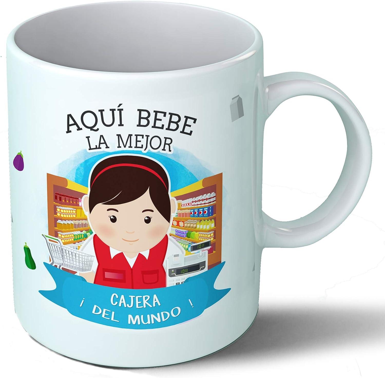 Taza Desayuno Aquí Bebe la Mejor cajera del Mundo Regalo Original cajeros Tienda supermercado Ceramica 330 mL ...