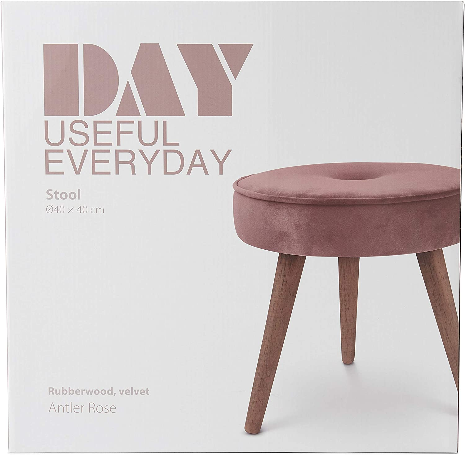 DAY USEFUL EVERYDAY Stool Chair Dressing Table Vanity Stool Scandinavian Design Polyester Max Load 120 kg Pink Diameter 40 cm x 40 cm