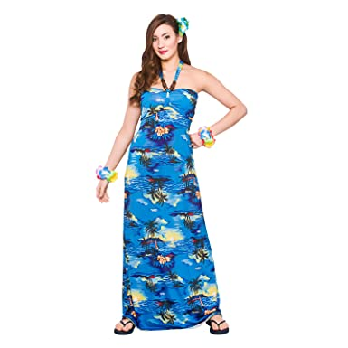 adc27e73431a Hawaiian Maxi Blue Palm Ladies Fancy Dress Tropical Adults Womens Costume  Outfit: Amazon.co.uk: Clothing