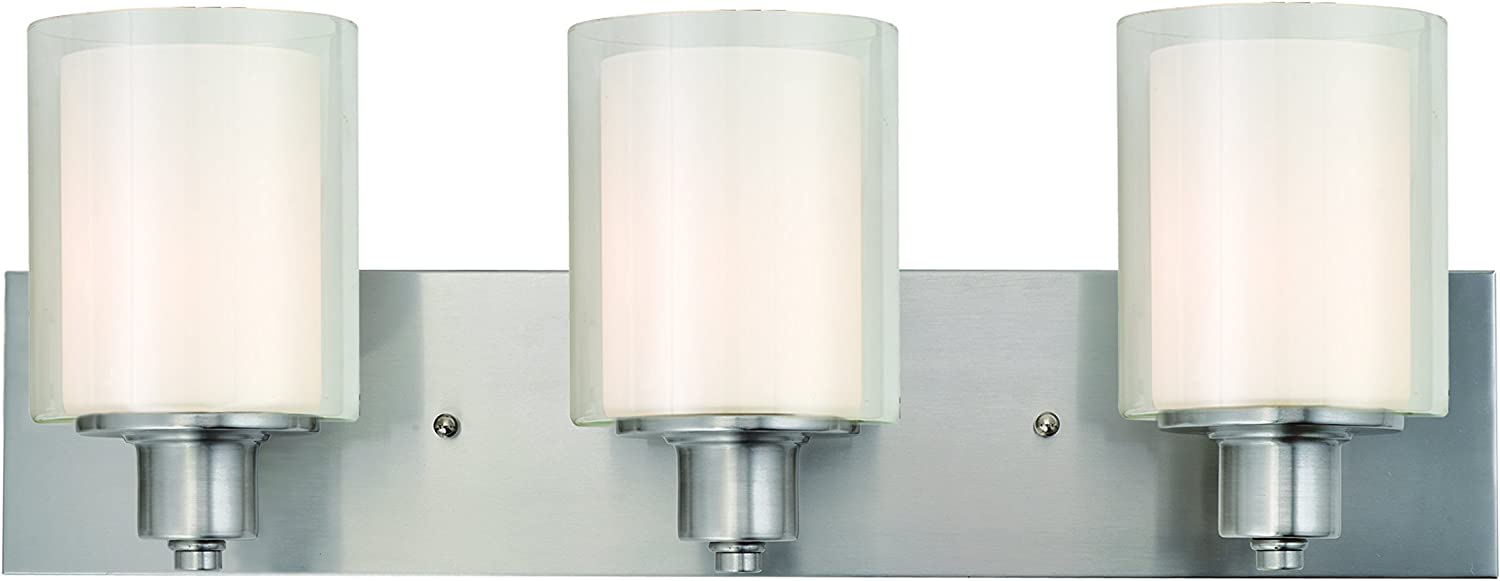Design House 579300 Penn Traditional Indoor Bathroom Vanity Light Dimmable Double Glass for Over The Mirror, Satin Nickel, 3
