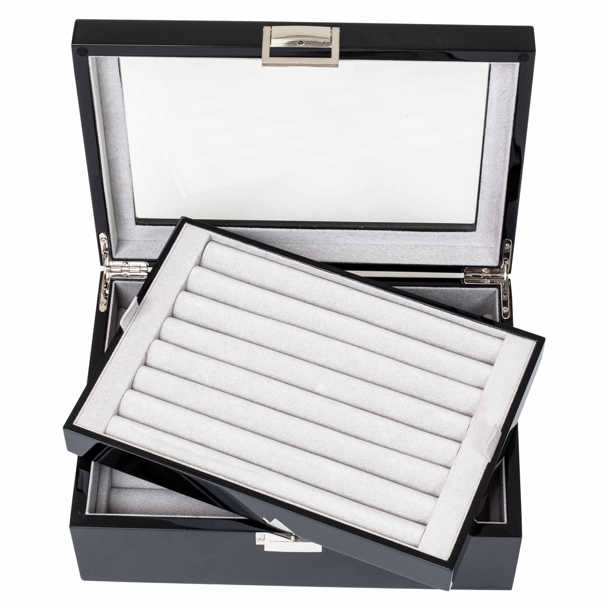 Black Double Layer Jewelry Cufflinks Storage Presentation Box / Case by Cuff-Daddy