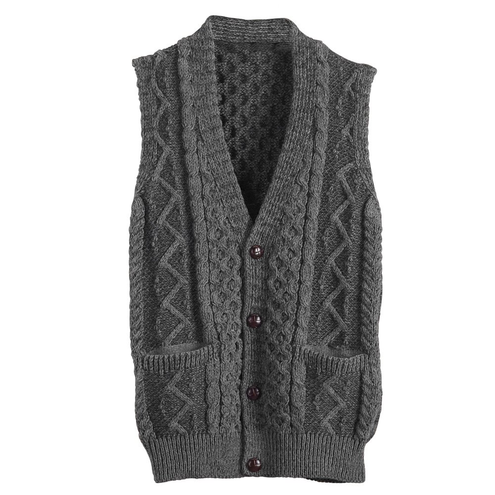 Men's Aran Waistcoat - Cable Knit Wool Button Down Sweater Vest - XL by Carraig Donn (Image #1)