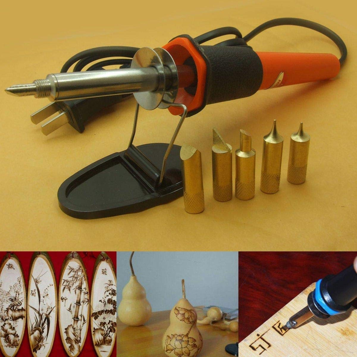 Wood Burning Pen Con 5 puntas AC 110V 30W Grabado de madera Soldadura de bol/ígrafo Soldadura Hierro Kit de pirograf/ía Herramienta