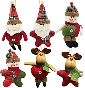 winemana Christmas Tree Ornaments Set for Xmas Home Party Decor, Christmas Hanging Snowman Elk Santa Claus Decorations, 6 Pcs (Red)