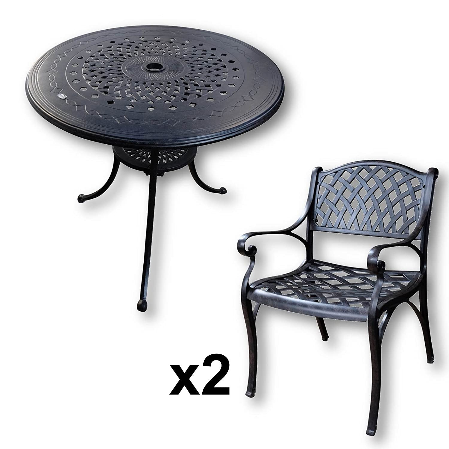 lazy susan anna 80 cm runder gartentisch mit 2 st hlen gartenm bel set aus metall antik. Black Bedroom Furniture Sets. Home Design Ideas