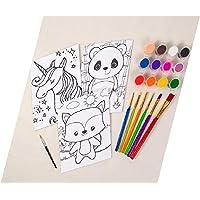 "Horizon Group USA Pre-Printed Canvas & Paint Art Set. Ready to Paint 5"" x 7"" Canvas Panels, 12 Tempera Paints, 6 Easy…"
