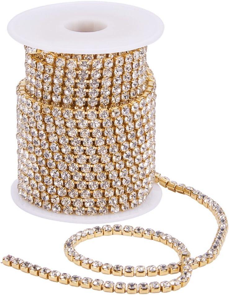 BENECREAT 9.14m 4mm Crystal Rhinestone Cerrar Cadena de Recorte Claro Cadena de Costura Artesania sobre 1965pcs Piedras de Strass - Cristal (Fondo de Oro)