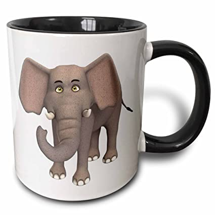 Buy 3drose An Elephant Cartoon Character Two Tone Black Mug 11oz Mug 164107 4 11 Oz Black White Online At Low Prices In India Amazon In