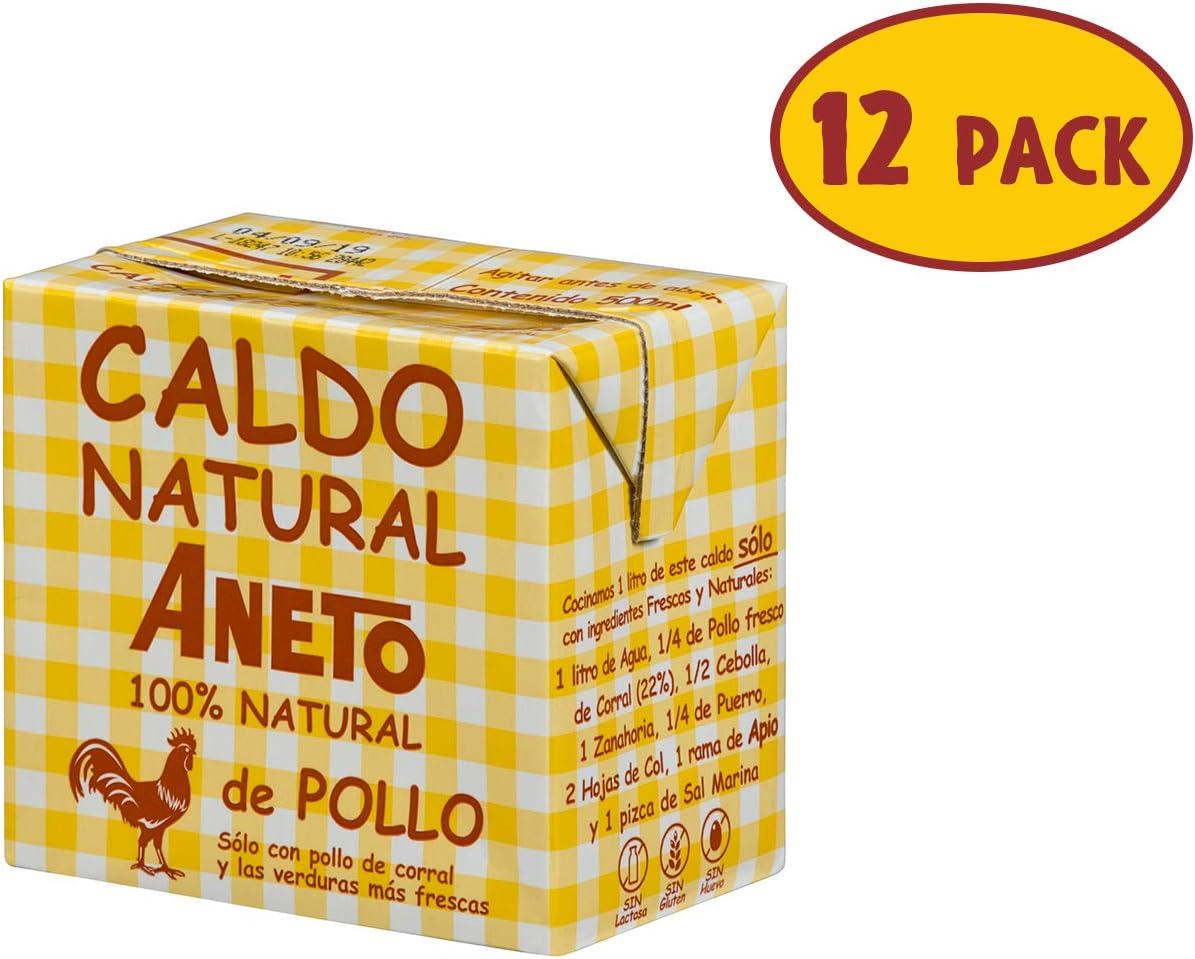 Aneto 100% Natural - Caldo de Pollo - caja de 12 unidades de 500ml ...