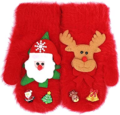 Christmas Children Winter Reindeer Thick Cotton Gloves Knit Mittens Cartoon Xmas