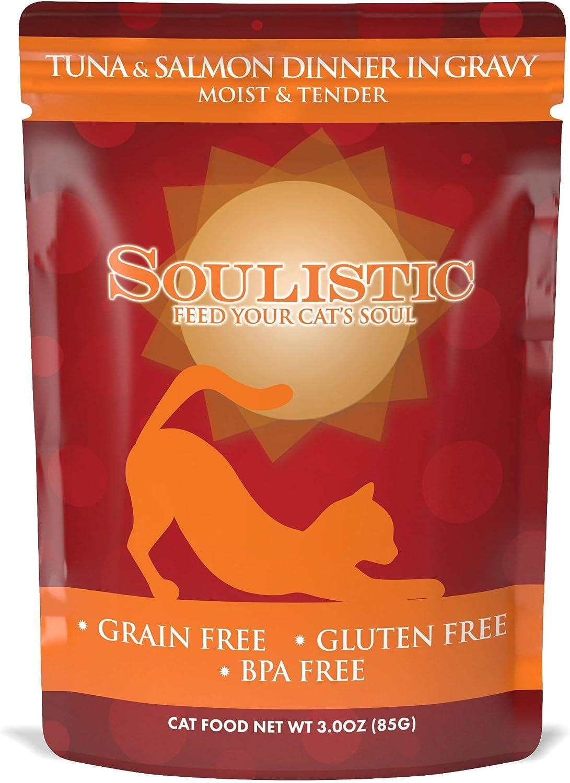 Soulistic Moist & Tender Tuna & Salmon Dinner in Gravy Wet Cat Food, 3 oz., Case of 8, 8 X 3 OZ