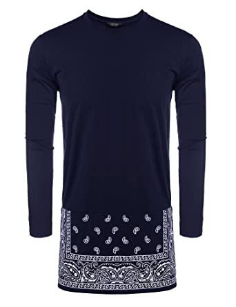 2040de4f COOFANDY Men's Long Sleeve Hipster Hip-hop Long Street T-Shirt African  Dashiki Printed