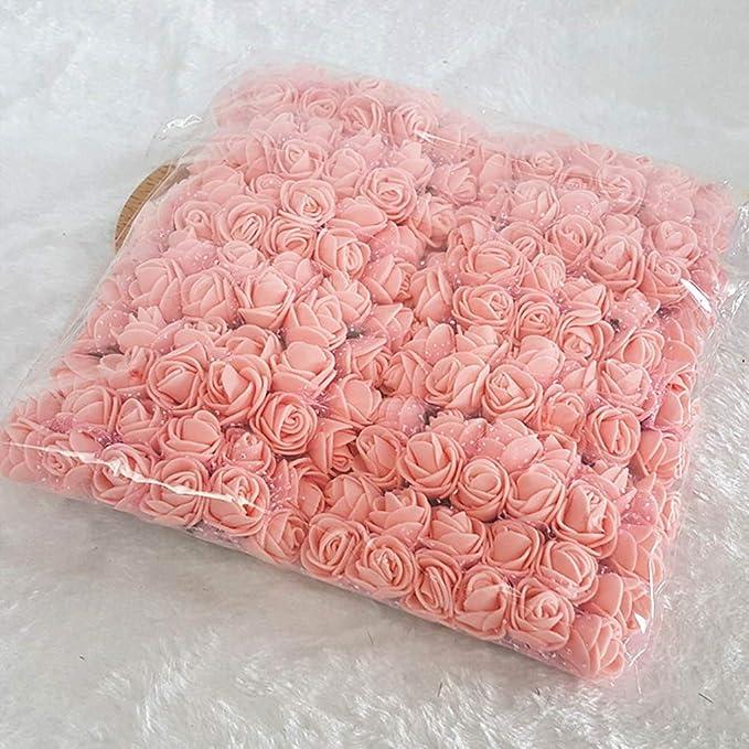 Champagne Uzinb 144pcs Fleurs artificielles Mini Mousse Roses Bouquet de Mariage D/écorations de Fleur de Rose avec Tige