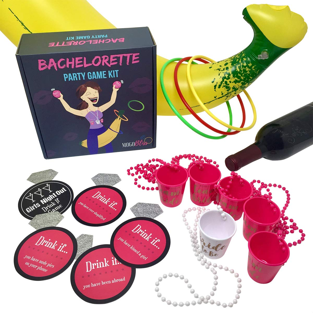 40 PC Bachelorette Party Games Kit | 3 Games in 1 | Banana Ring Toss, ''Drink If'' Card Drinking Game + 6 PK Bridal Shot Glass Necklaces | Naughty & Fun Party Decorations, Favors & Supplies by MOGObliss