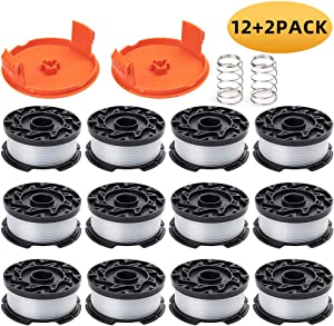 """ZONOWN 12 Pack Weed Eater Replacement Spools Compatible with Black&Decker AF-100 LST420 GH900 String Trimmer, 30ft 0.065"""" Trimmer Line, 2 Pack Spool Cap & Spring(12 Spool,2 Cap&Spring)"""