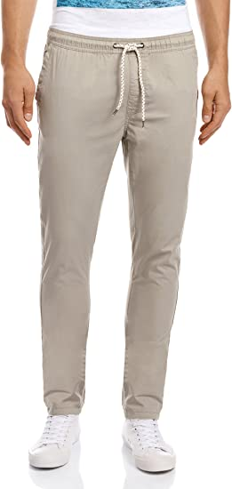 oodji Ultra Hombre Pantalón Algodón con Cordones: Amazon.es: Ropa ...