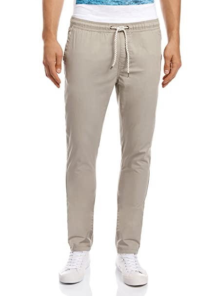 oodji Ultra Hombre Pantalones Básicos de Algodón BBVvlDkeC