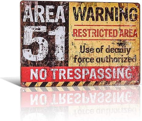 estilo retro de advertencia Placa de metal para puerta de pared con texto en ingl/és Area 51