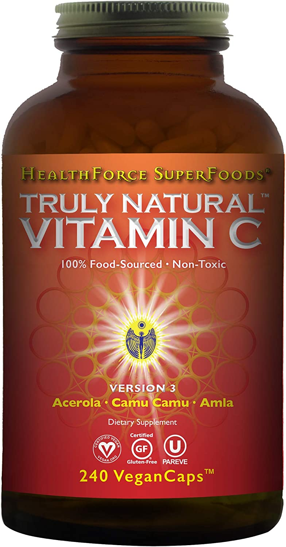 HealthForce SuperFoods Truly Natural Vitamin C - 240 Vegan Caps - Whole Food Organic Vitamin C Complex from Acerola Cherry Powder - Immune Support - Vegan, Gluten-Free - 30 Servings