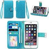 iPhone 6S Plus Case / iPhone 6 Plus Case, IZENGATE [Classic Series] Wallet Case Premium PU Leather Flip Cover Folio with Stand for Apple iPhone 6 Plus / Apple iPhone 6S Plus (Turquoise Blue)