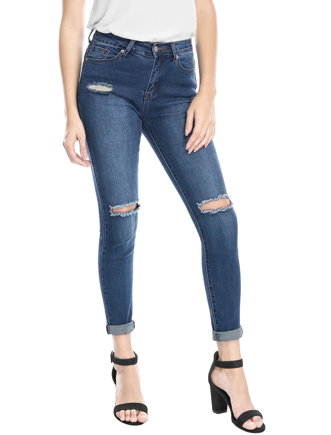 Allegra K Women's Mid Rise Stretch Distressed Design Skinny Jeans XL Blue