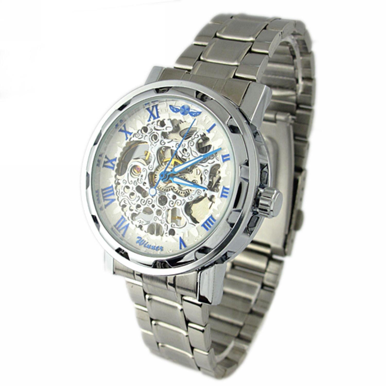 Pokupki/customer/account/login - Amazon Com Youyoupifa Men S Alloy Strap Wind Round Mechanical Watches Silver Strap White Dial Watches