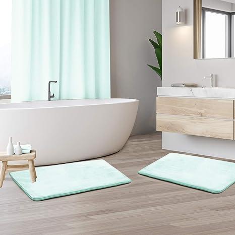 Clara Clark Memory Foam Bathrug 2 Pack Set Bath Mat and Shower Rug Larg Aqua