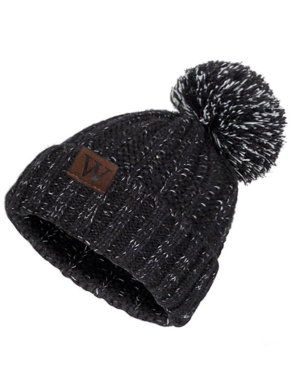 EVRFELAN Winter Fox Pompom Beanie Cable Knit Warm Hat Ribbed Ski Skull Cap (Black)