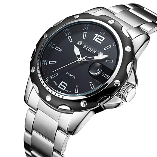 Relojes, Hombres Relojes Negro Reloj de pulsera de acero inoxidable para hombres Vestido de cuarzo Casual Reloj analógico Regalo Hombres: Amazon.es: Relojes