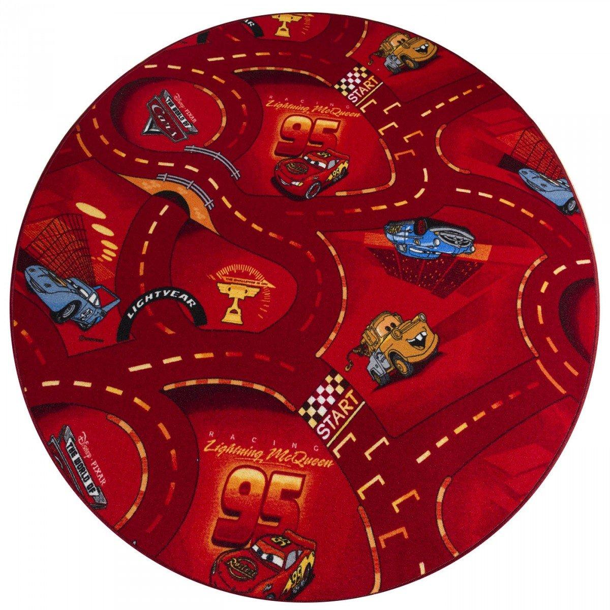 havatex Kinderteppich Cars rund - Farben: Rot, Blau, Grau | Spielteppich schadstoffgeprüft pflegeleicht strapazierfähig | Kinderzimmer Spielzimmer Autos, Farbe:Rot, Größe:133 cm rund