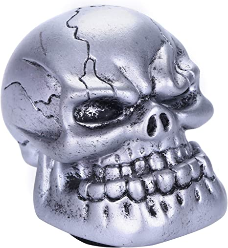 Arenbel Auto Shift Knob Skull Gear Stick Shifting Lever Shifter of Cool Style fit Universal Manual Automatic Cars Silver