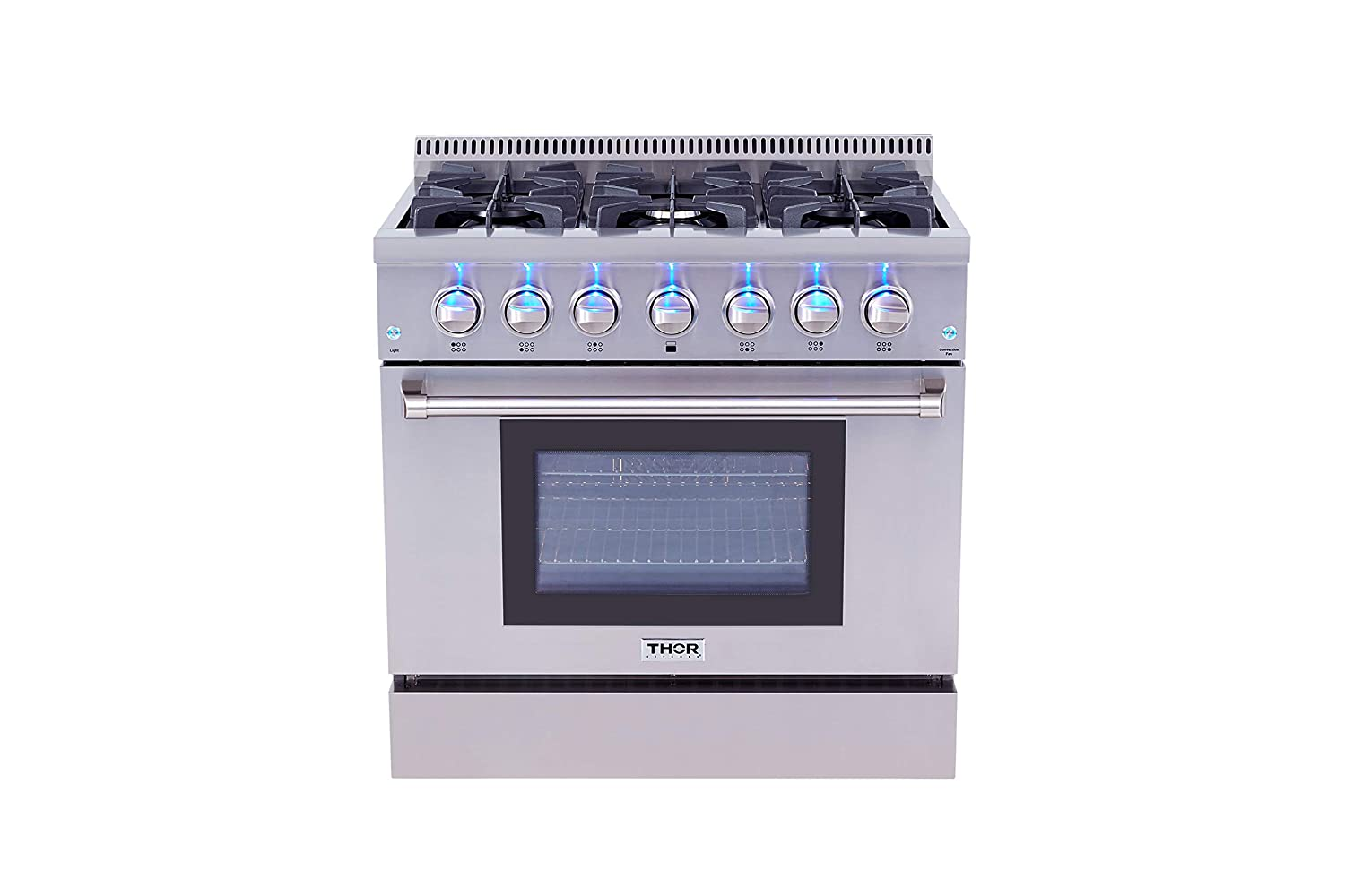 "Thorkitchen HRD3606U 36"" Freestanding Professional Style Dual Fuel Range with 5.2 cu. ft. Oven, 6 Burners, Convection Fan, Stainless Steel"