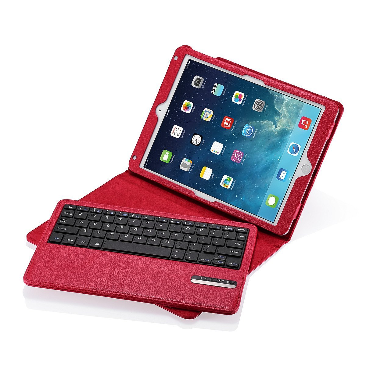 iPad Air/iPad Air 2 Keyboard + Leather Case, Poweradd Removable Bluetooth iPad Keyboard Case + Auto Wake/Sleep Function, Built-in Stand for Apple iPad Air 1/2, iPad 5/6 [Apple iOS 10+ Support] - Red by POWERADD