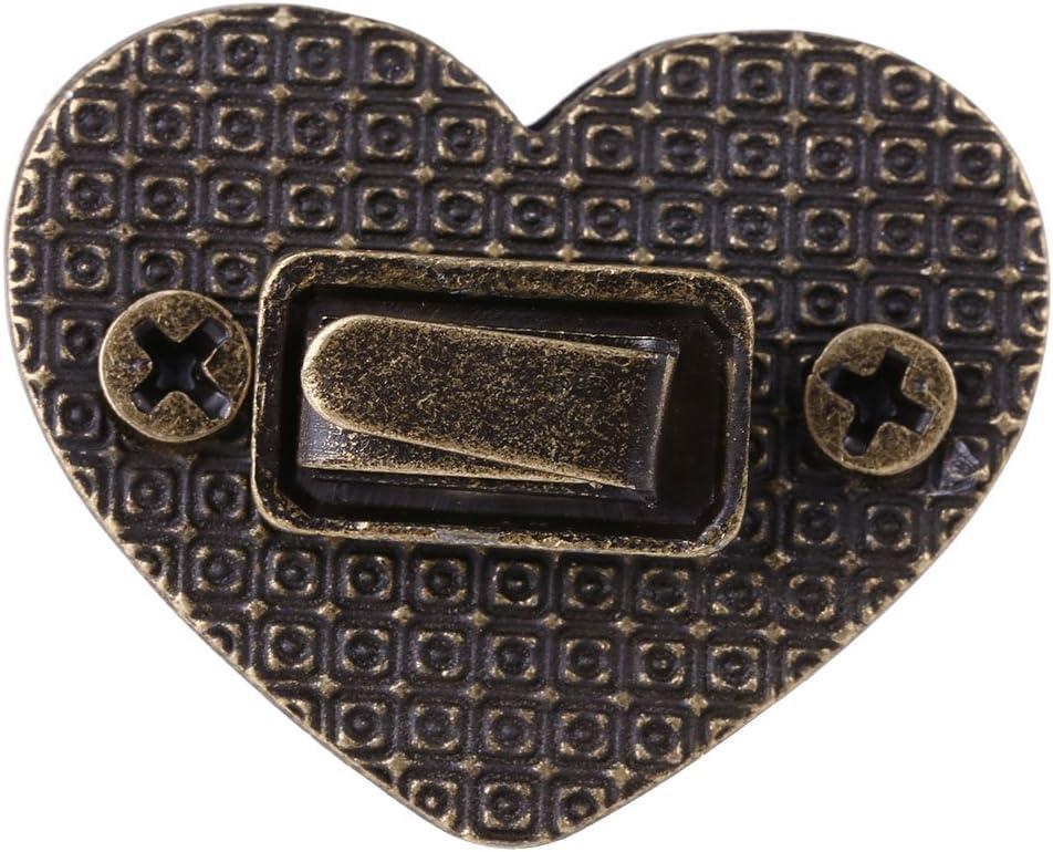 Cerradura de Matela Cerradura en Forma de Coraz/ón Turnlock de Metal para Bolso Caja Estuche Maleta Bronze