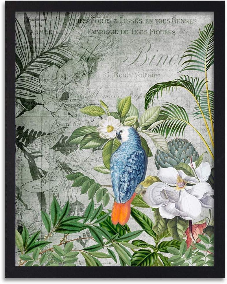 carowall CAROWALL.COM Image in Black frame parrot Wall art abstract Green 16x24 inches