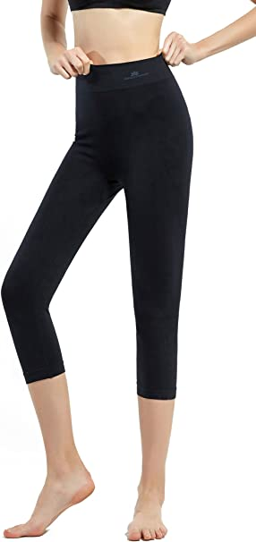 SKINEEZ Skincarewear Womens Capri Leggings High Waist Yoga Capri Pants Cropped Workout Leggings