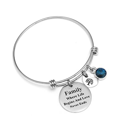 2ebbaaa3c0a82 Amazon.com: Angel's Family Charm Bracelet - Family Where Life Begins ...
