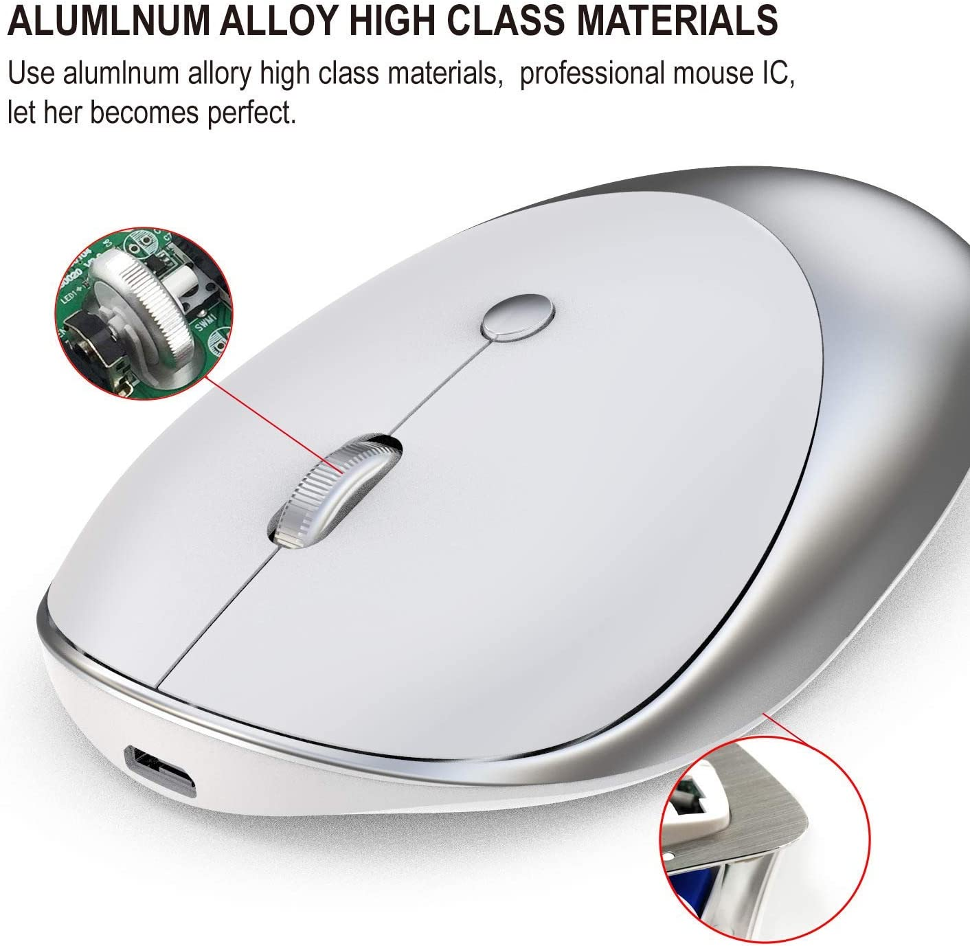 2.4G Wireless Tri-Mode Technology Silent Design for Notebook Computers YUEBAOBEI Wireless Mouse Ergonomic Design Lightweight and Ultra-Thin Wireless Mouse