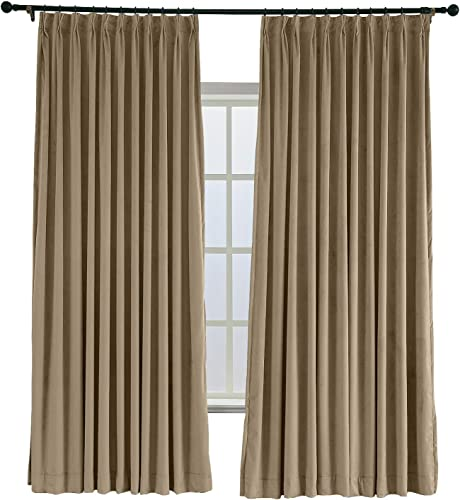 ChadMade Pinch Pleated 120W x 84L Blackout Lined Velvet Curtain Drapery Panel
