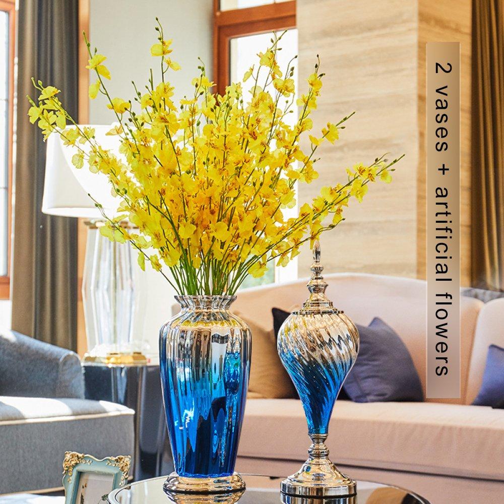 Vase Gradient Glasvase Künstliche Blume Wohnzimmer Blumenschmuck Europäisch-amerikanischen Hause TV-Schrank Tisch,B
