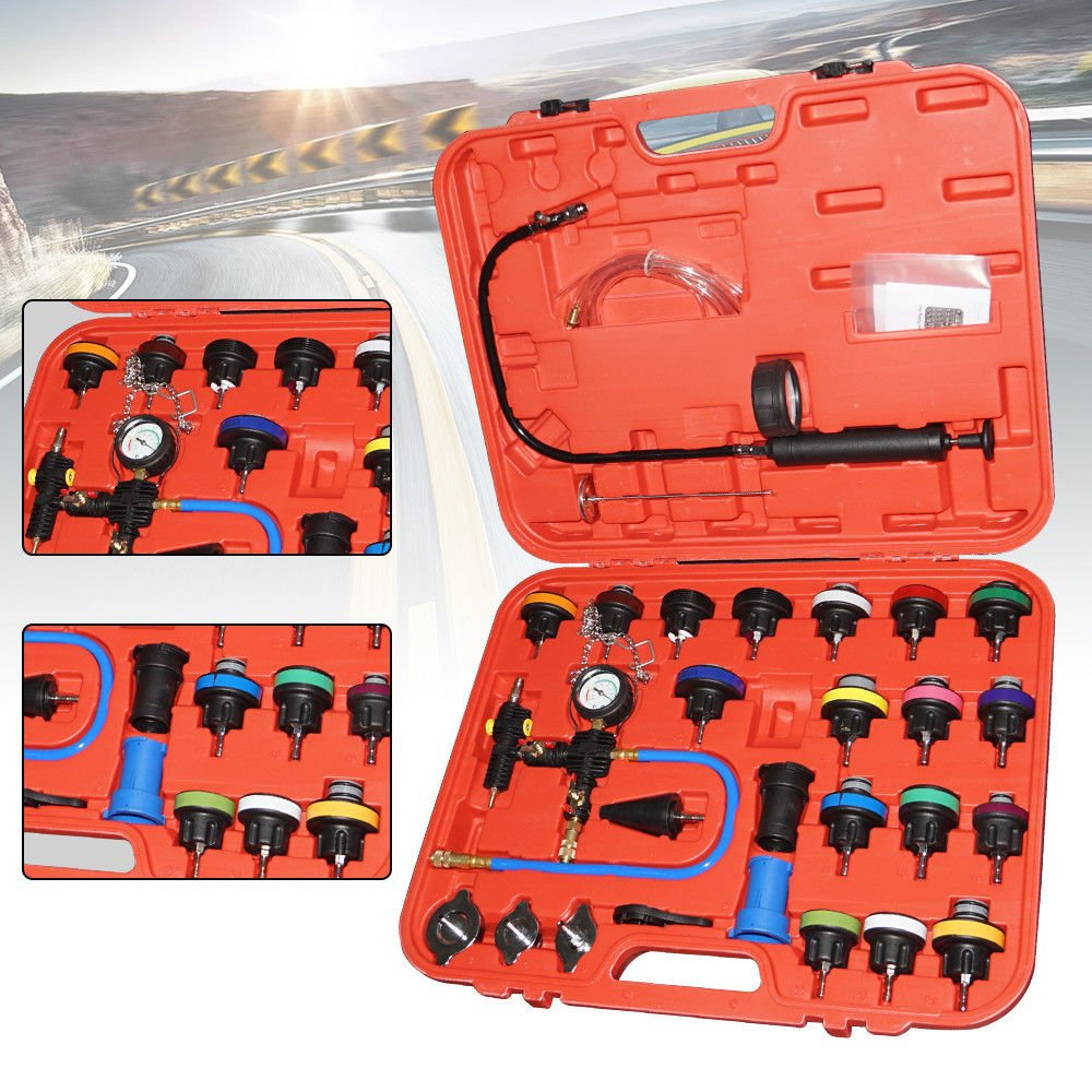 SHIOUCY Radiator Pressure Tester Kit Universal 28pcs Vacuum Type Cooling System Set tool