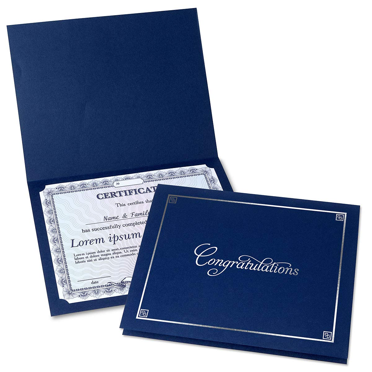 Congratulations Blue Certificate Folder with Silver Border - Set of 25, 9-1/2'' x 12'' Folded with Diecut Corners on 80 lb. Linen Cover Stock, Document Cover, Diploma Holder, Letter Sized Awards by Fine Stationery
