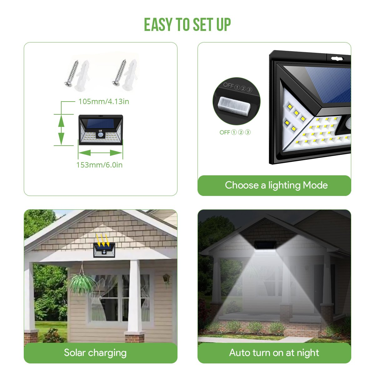 LE 44 LED Solar Powered Lights Outdoor with Motion Sensor, 3 Optional Lighting Modes, 270 Degree Angle, Daylight White 6000K, 4W 550LM, for Garden, Fence, Driveway, Front Door and More, Pack of 4 by Lighting EVER (Image #5)