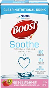 Boost Soothe Clear Nutritional Drink, Hint of Strawberry Kiwi - No Artificial Colors, Flavors or Sweeteners - 8 FL OZ (Pack of 3)