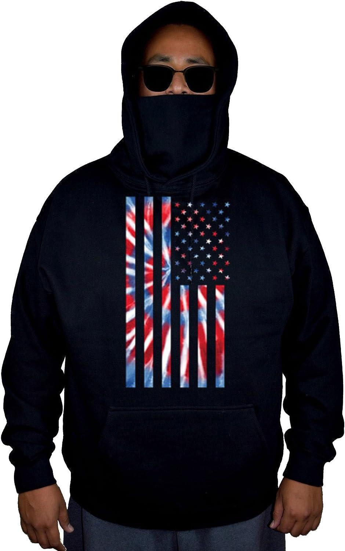 Interstate Apparel Mens Tie Dye American Flag Black Mask Hoodie Sweater