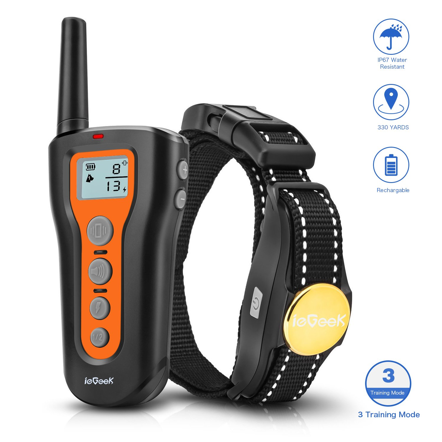 IeGeek Dog Training Collar with Remote Control, Rechargeable and Waterproof 330 Yards Electric Dog Shock Collar with Beep Vibration Electric Shock Modes for Small Medium Large Dogs (6.6-120 lbs)