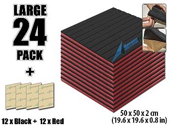 arrowzoom nueva combinación de colores de 24 unidades adhesiva cuña de aislamiento acústico aislamiento acústico Espuma pared acolchado Studio espuma ...
